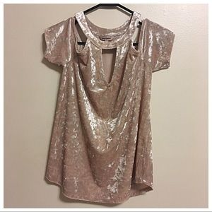 Juicy Couture Velvet Cold-Shoulder Pink Top Small